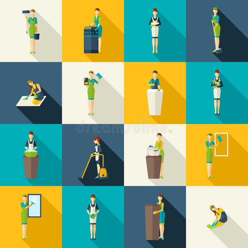 Cleaners Color Flat Icons Set. Cleaners in work with tools and equipment color with shadows flat icons set isolated vector illustration stock illustration