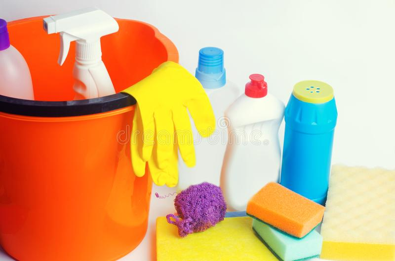 Cleaners on an isolated white background, housekeeping , supplies, concept of cleanliness royalty free stock images