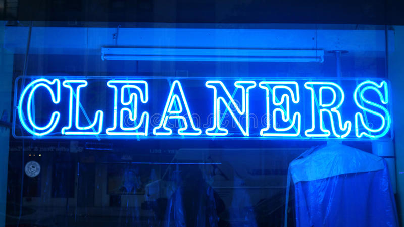 Cleaners Sign. A blue neon cleaners sign royalty free stock photo