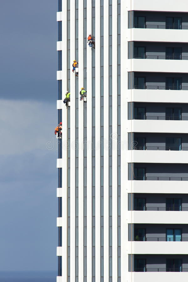 Download Cleaning Facade Of Apartment Tower Editorial Image - Image of clad, apartment: 25432230