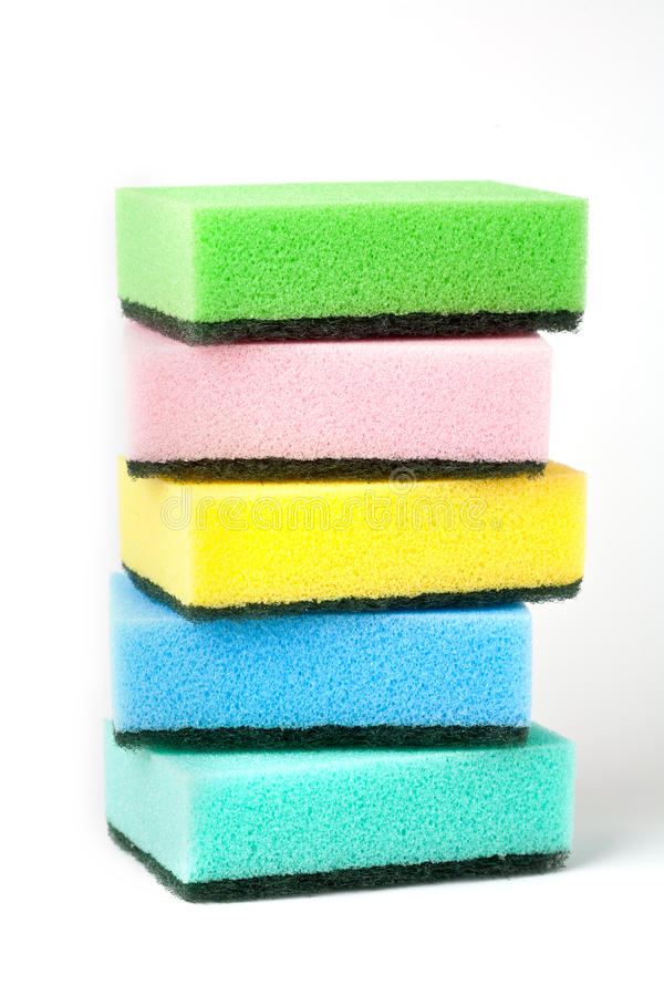 Cleanin sponges gisolated on white stock photos