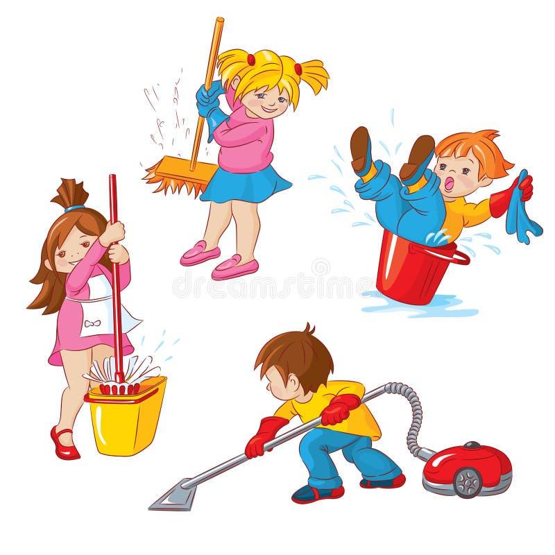 cleaning royaltyfri illustrationer