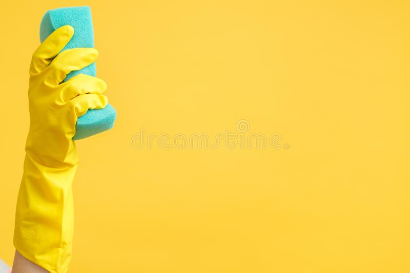 Cleaning advertising hand glove sponge copy space royalty free stock image