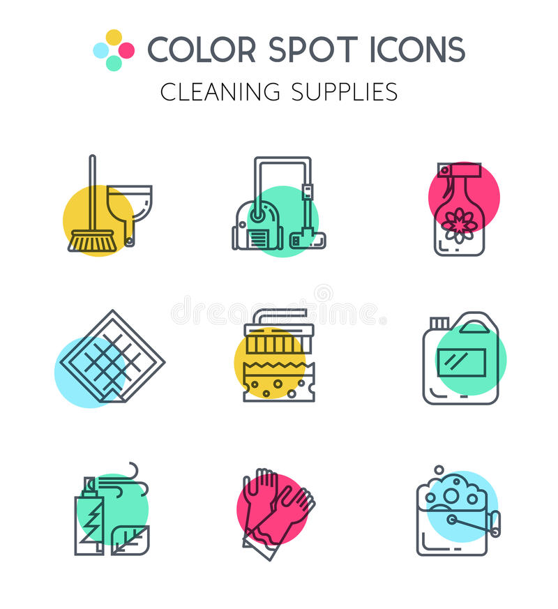 Cleaning anad household supplies icons. Modern clean linear style. Cleaning equipment and appliance design elements. For web, banners, blogs, poster royalty free illustration