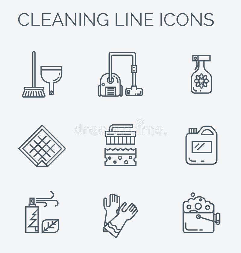 Cleaning anad household supplies icons. Modern clean linear style. Cleaning equipment and appliance design elements. For web, banners, blogs, poster vector illustration