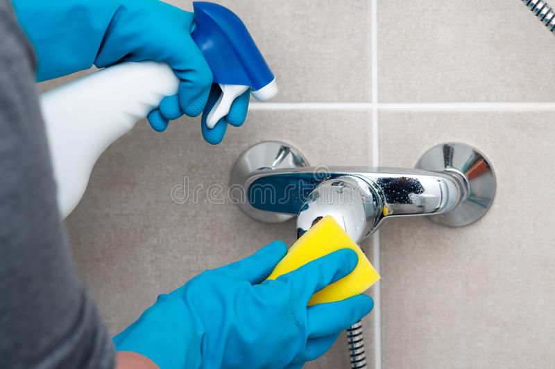 Cleaning bathroom stock image