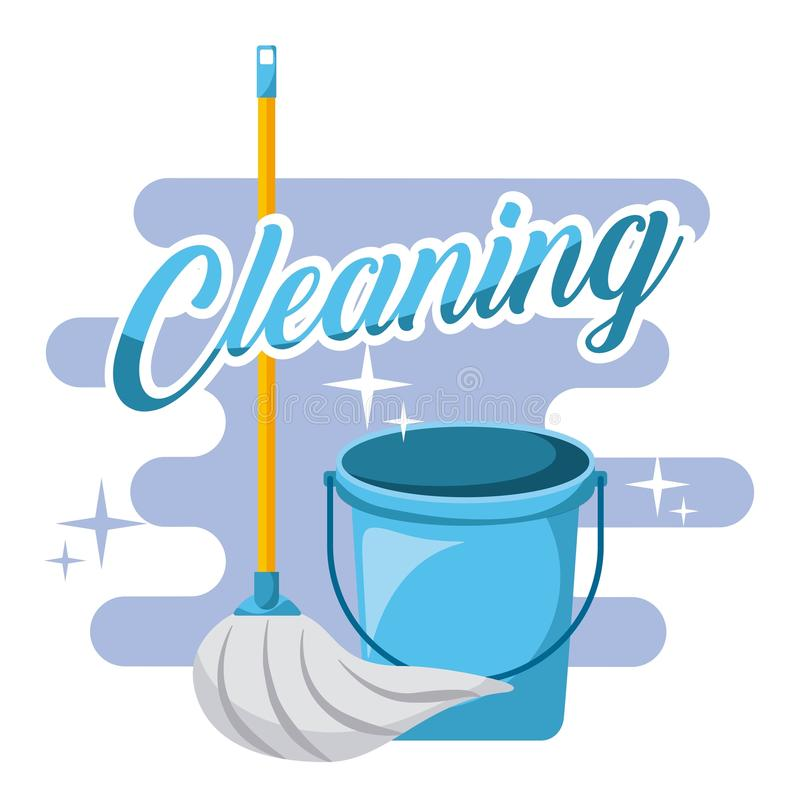 Cleaning blue bucket and mop tools. Vector illustration vector illustration