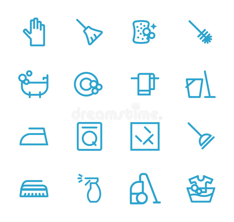 Cleaning blue. Cleaning the house, to iron, to wash, to wash the dishes.Blue. Flat design concepts for web banners, web sites, printed materials, infographics vector illustration