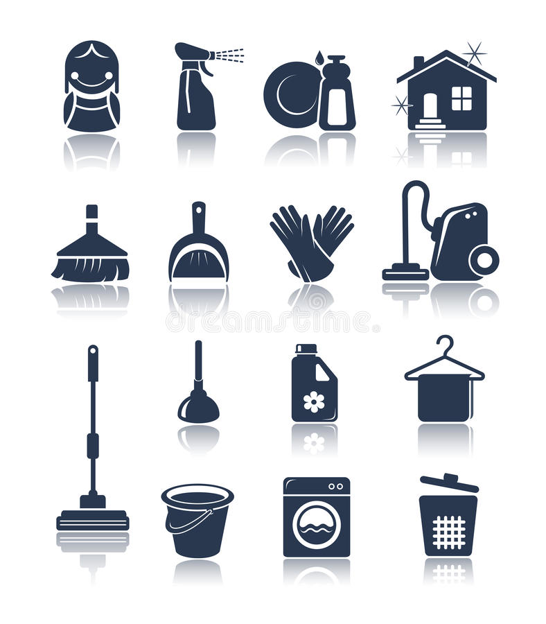 Free Cleaning Blue Icons Royalty Free Stock Image - 33656746