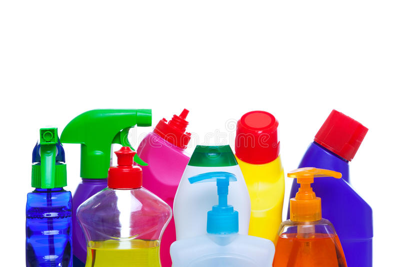 Cleaning bottles stock images