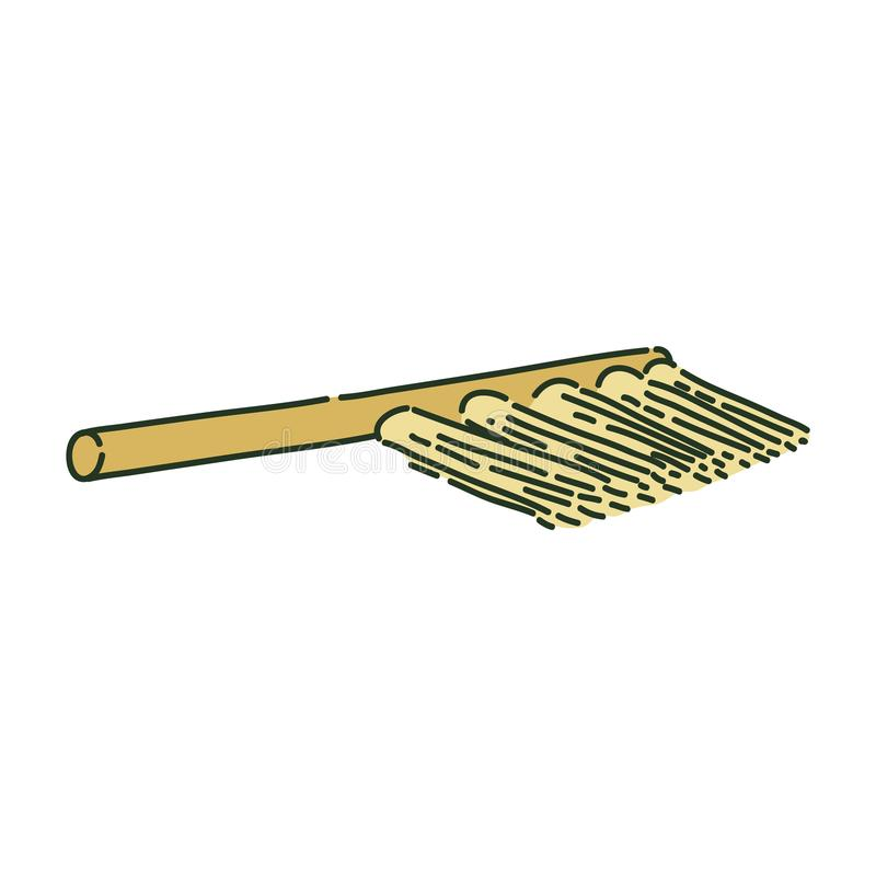 Cleaning brush or archaeological broom sketch style. Vector illustration isolated on white background. Housework tool or archaeological equipment for sweeping vector illustration