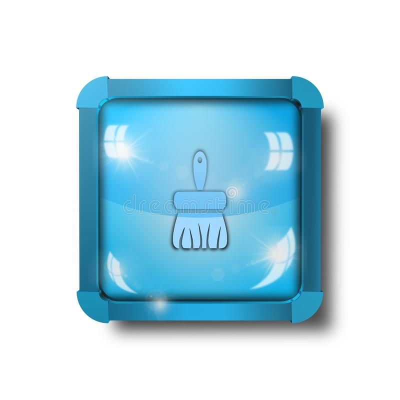 Cleaning brush icon, sign, illustration royalty free stock images