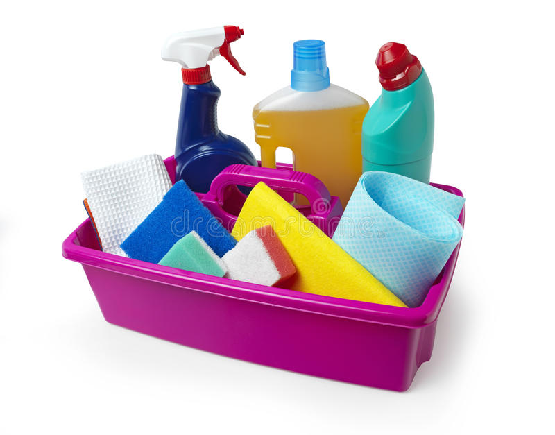 Cleaning Caddy. Fully loaded with cleaning products stock photo