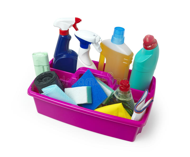 Cleaning Caddy. Fully loaded on white stock photos