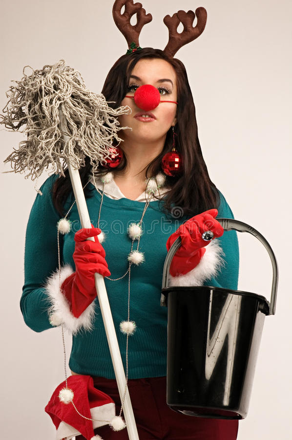 Cleaning after Christmas stock photo