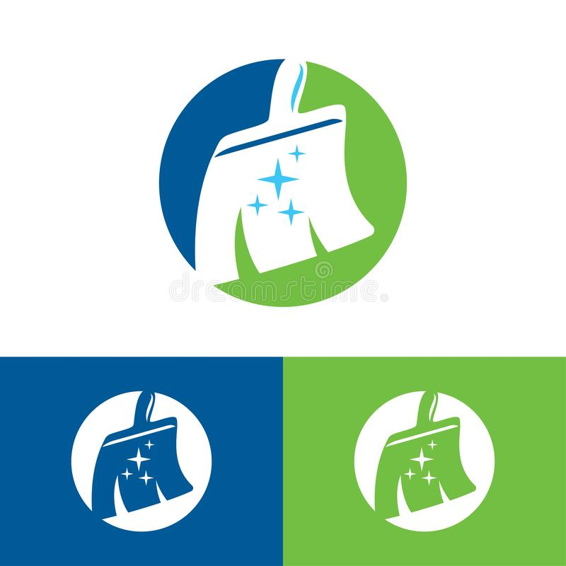 Cleaning clean service logo icon vector template, window cleaning service blue logo design stock illustration