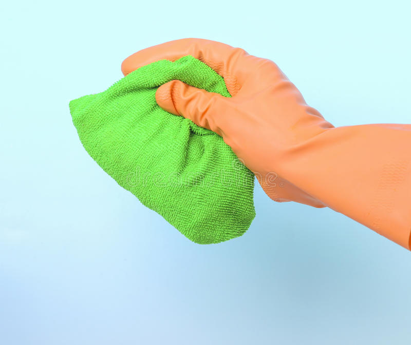 Cleaning with a cloth royalty free stock photography