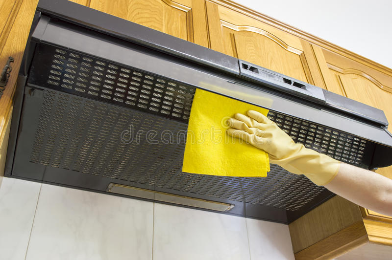 Cleaning cloth hood stock image