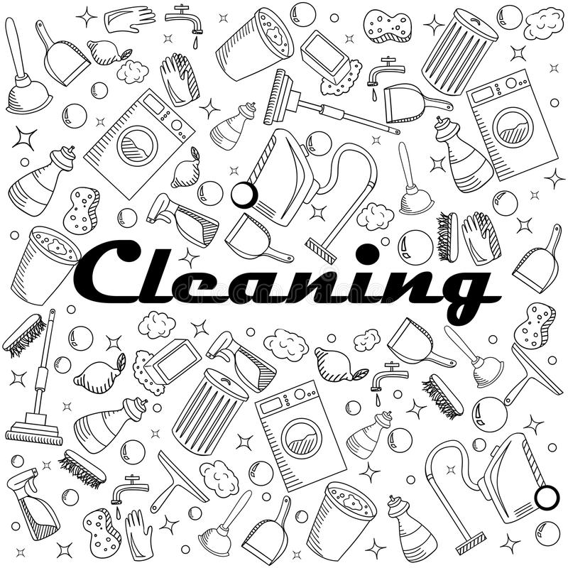 Download Cleaning Coloring Book Vector Illustration Stock