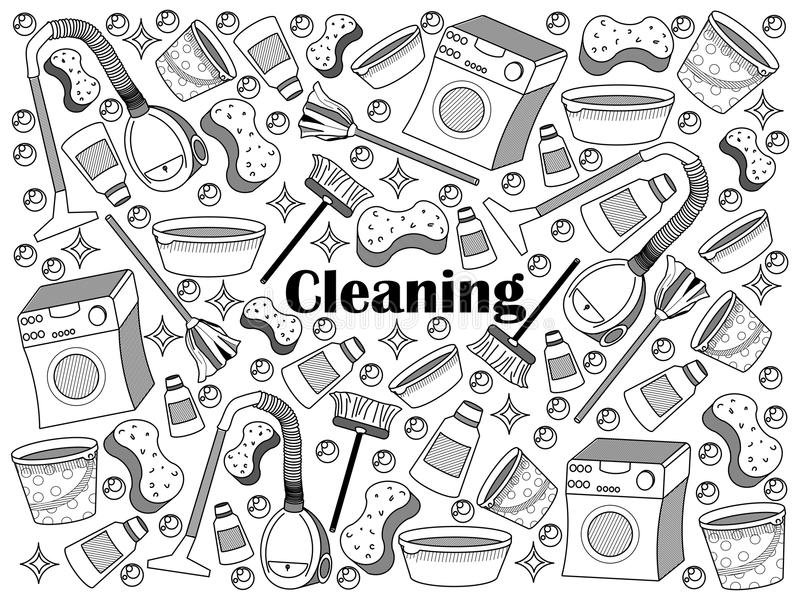 Cleaning colorless set vector illustration. Cleaning design colorless set vector illustration. Coloring book. Black and white line art stock illustration
