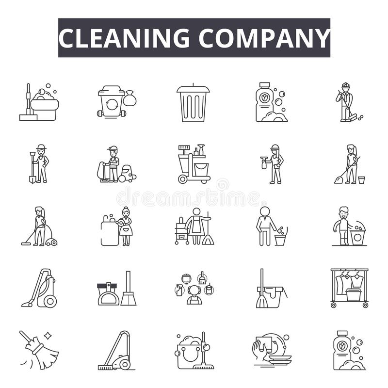 Cleaning company line icons, signs, vector set, outline illustration concept royalty free illustration