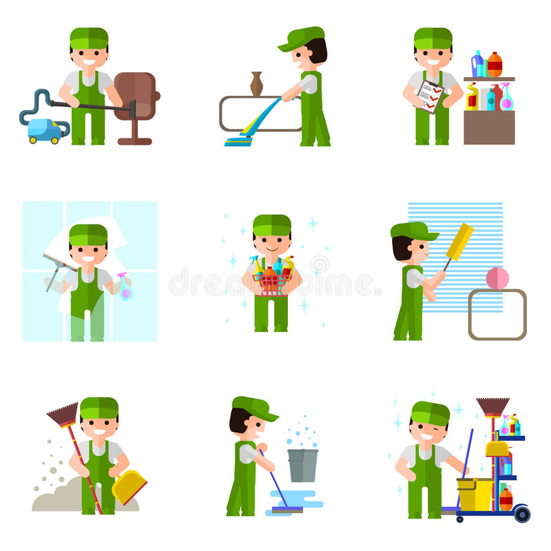 Cleaning company, vector icon, professional royalty free illustration