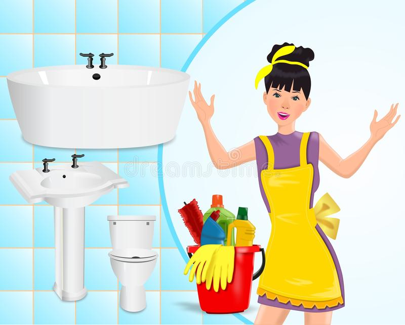 Cleaning concept. Young housekeeper, cleaning items and bathroom
