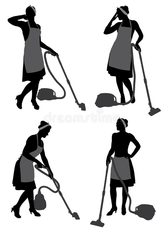 Cleaning dama Z Próżniowym Cleaner obrazy stock