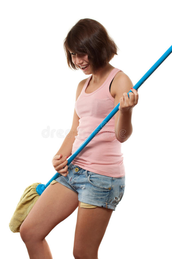 Cleaning Dancing Having Fun Stock Photos