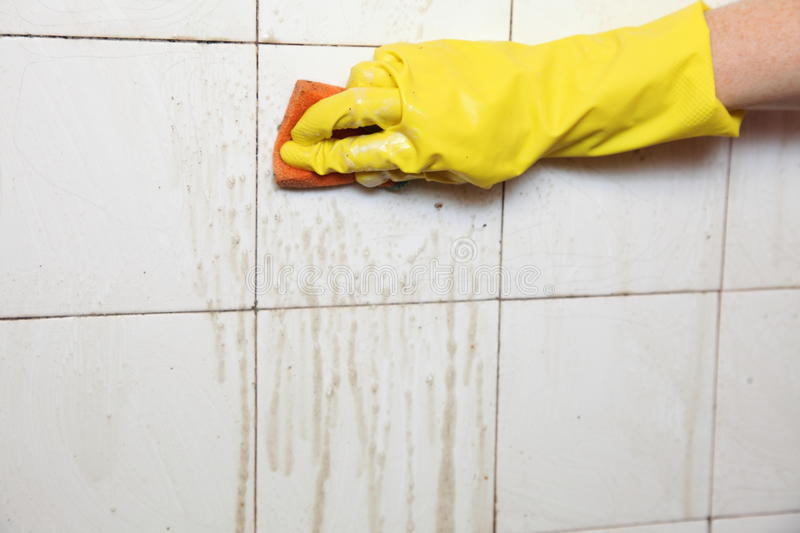Download Cleaning Of Dirty Old Tiles In A Bathroom Stock Photo   Image Of  Disinfect,