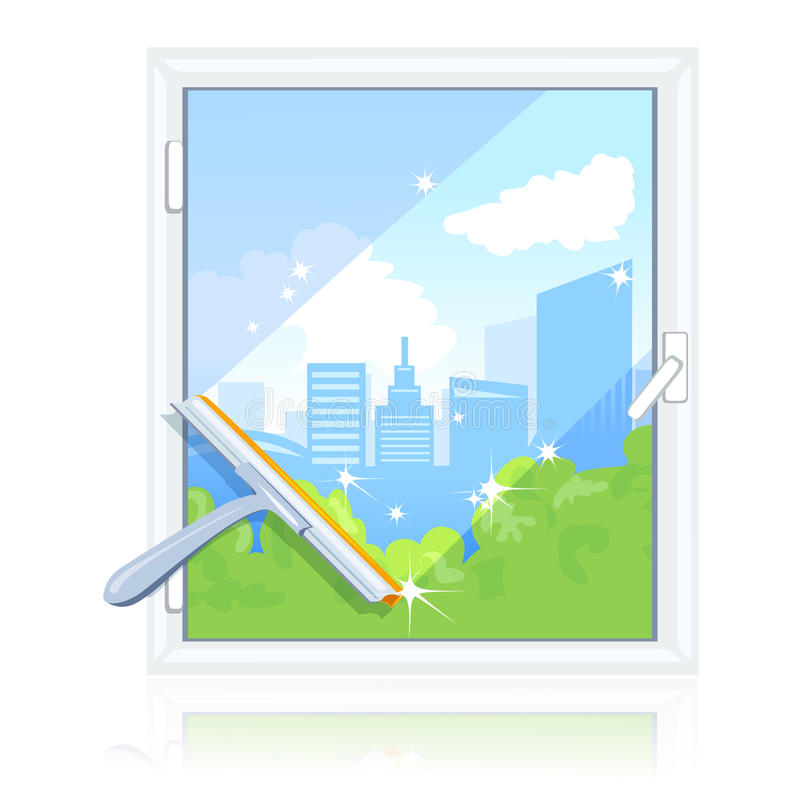 Cleaning dirty window. Vector illustration royalty free illustration