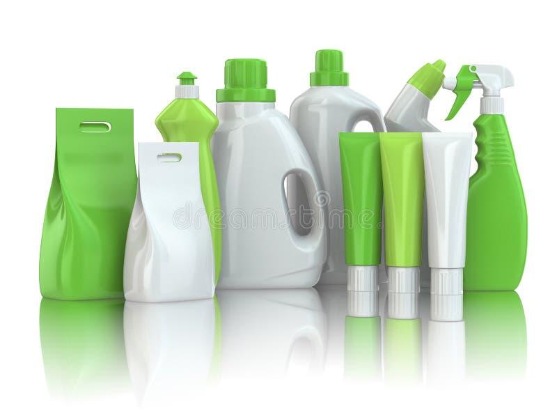 Cleaning dostawy. Gospodarstwo domowe substanci chemicznej detergentu butelki royalty ilustracja
