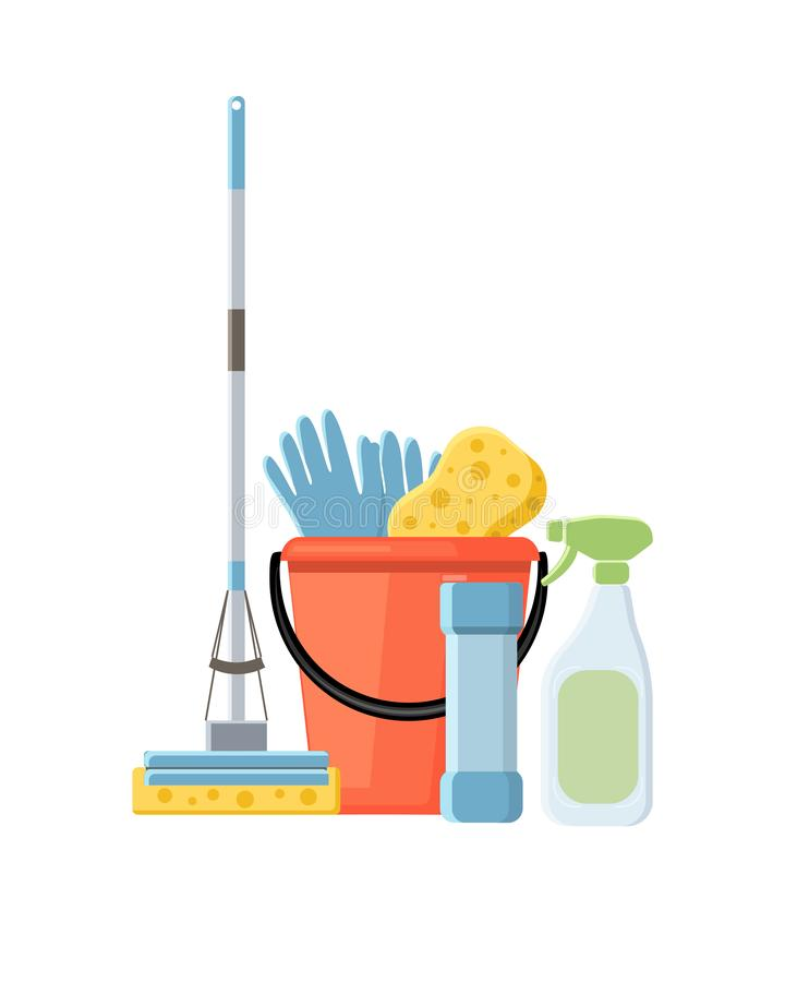 Cleaning dostawy w płaskiej kreskówce projektują wektorowego ilustraci isol ilustracji