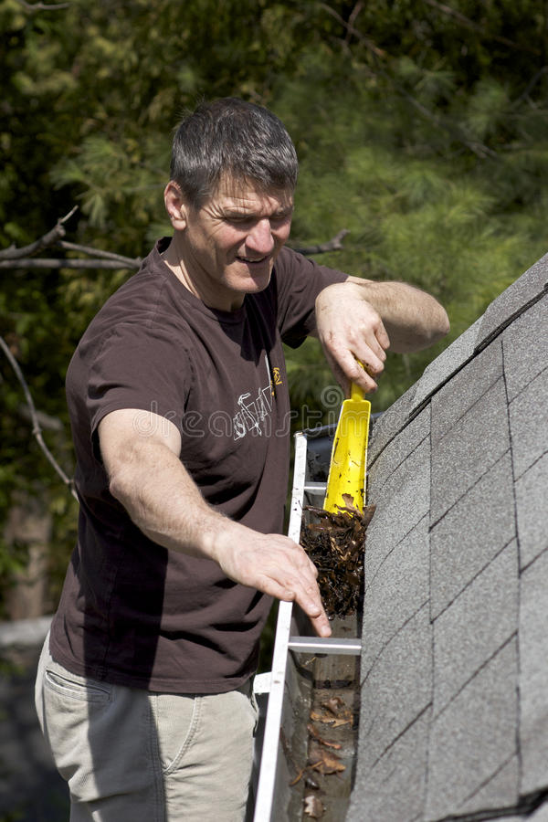 Cleaning Eavestroughs - a dirty job stock image