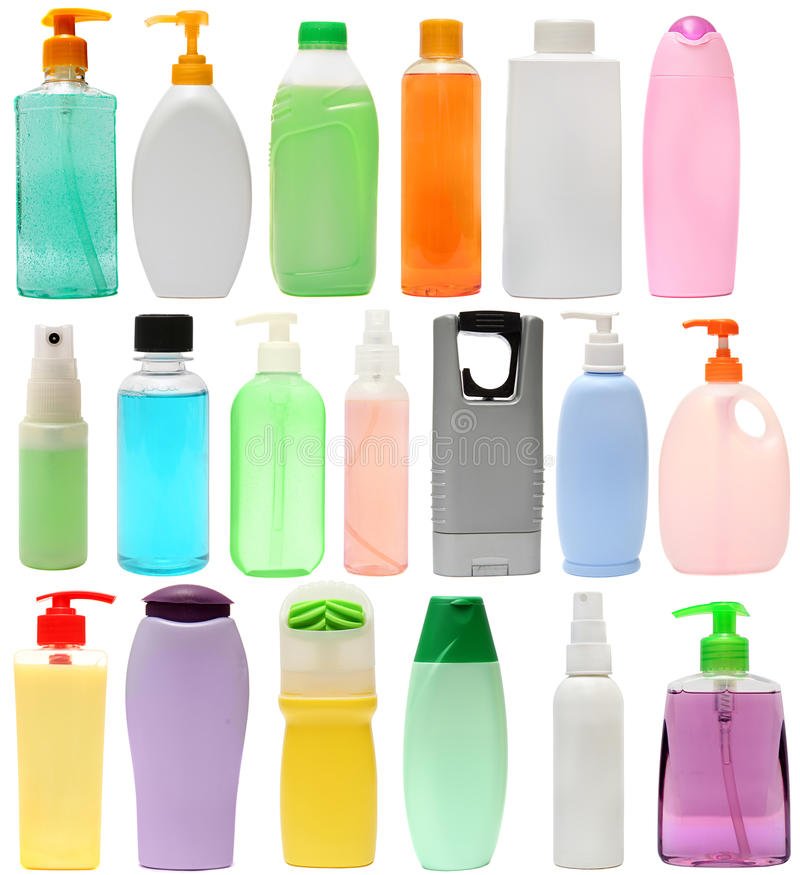Free Cleaning Equipment .19 Colored Plastic Bottles Royalty Free Stock Photography - 60175967