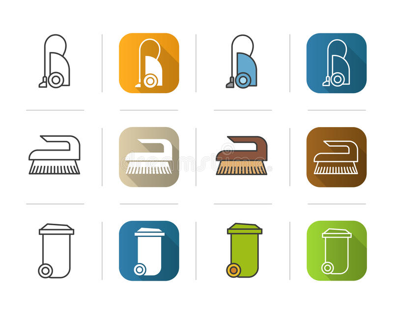 Cleaning equipment icons set. stock illustration