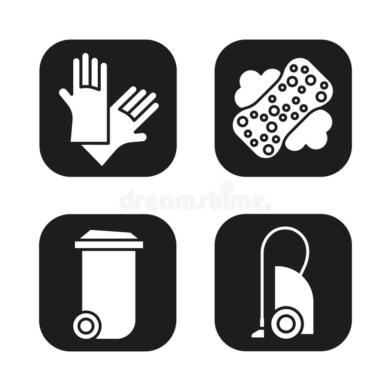 Cleaning Equipment Icons Set Vacuum Cleaner Trash Can Sponge With