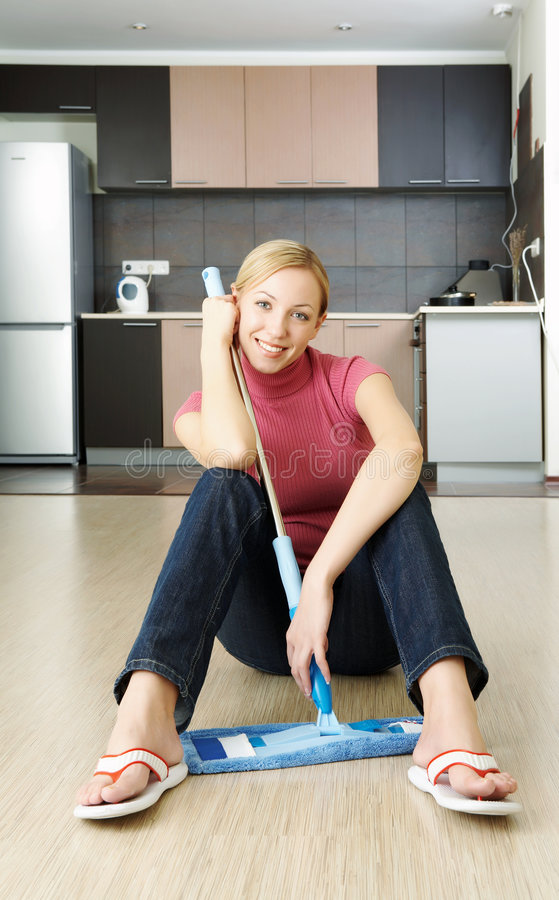 Cleaning a flat royalty free stock images