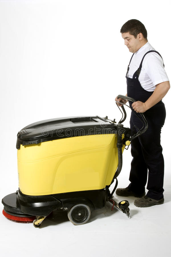 Cleaning floor with machine royalty free stock photo