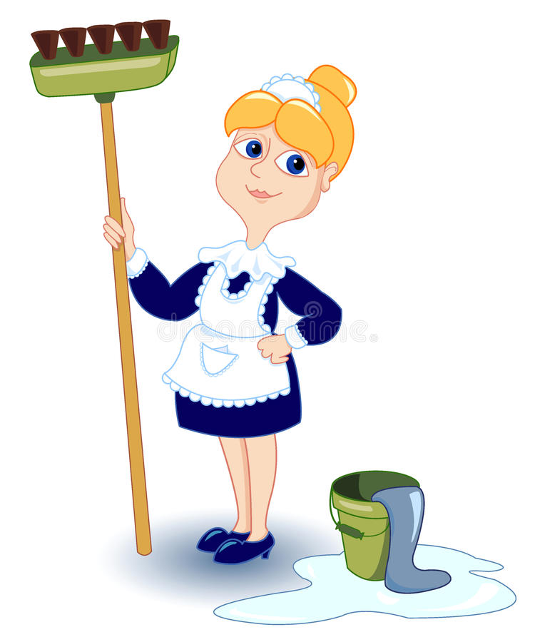 Download Cleaning girl stock vector. Image of illustration, girls - 12644586