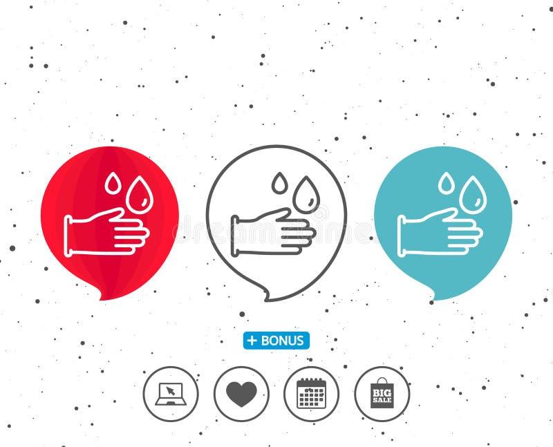 Cleaning gumowych rękawiczek kreskowa ikona Higiena znak ilustracji