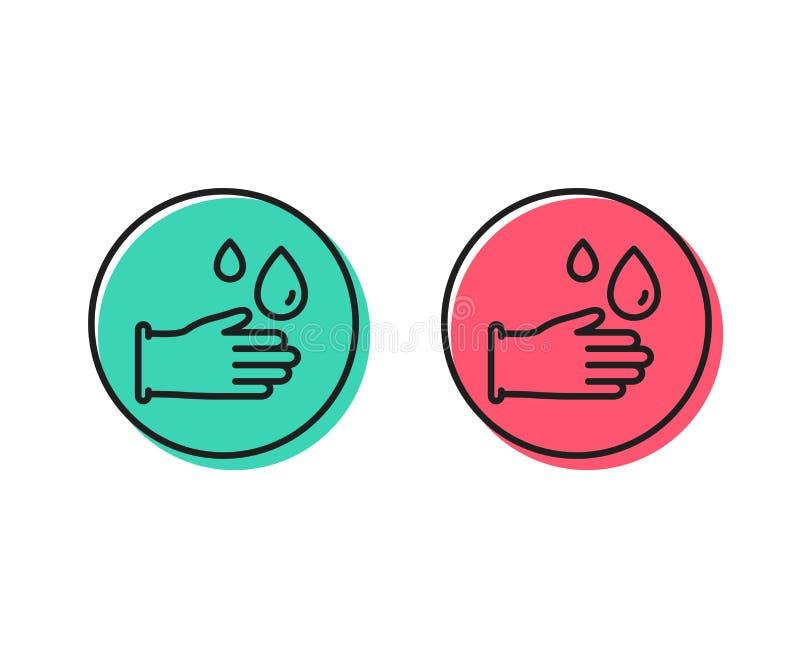 Cleaning gumowych rękawiczek kreskowa ikona Higiena znak wektor royalty ilustracja