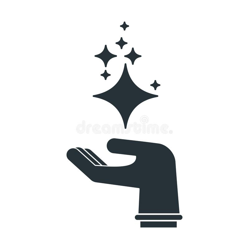 Cleaning hand black silhouette icon. Hand holding stars of brilliance and radiance of cleanliness and freshness. Cleaning, fresh, hygiene, shine in house. Flat royalty free illustration
