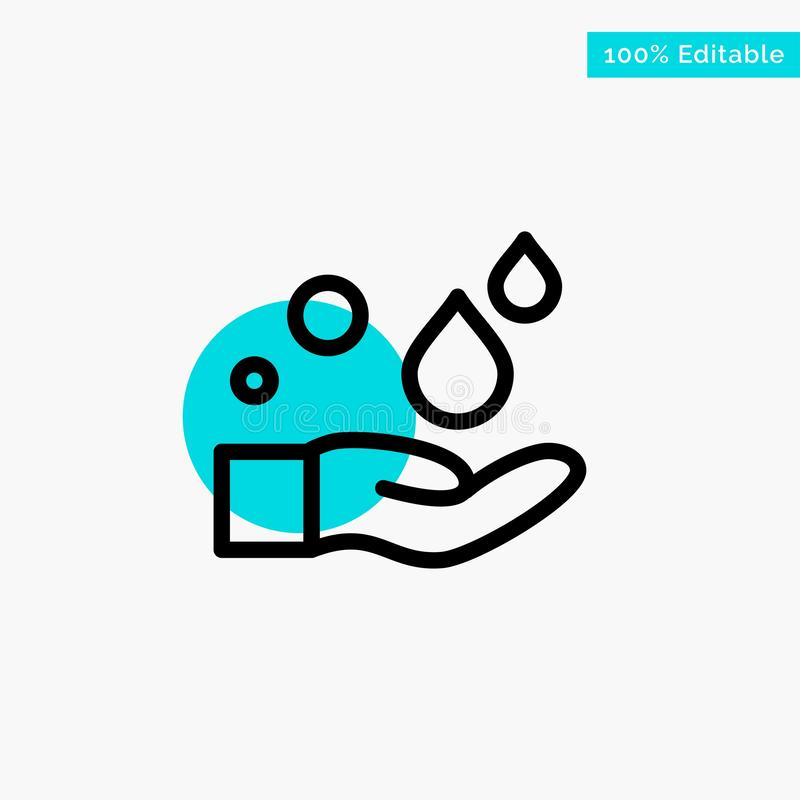 Cleaning, Hand, Soap, Wash turquoise highlight circle point Vector icon stock illustration