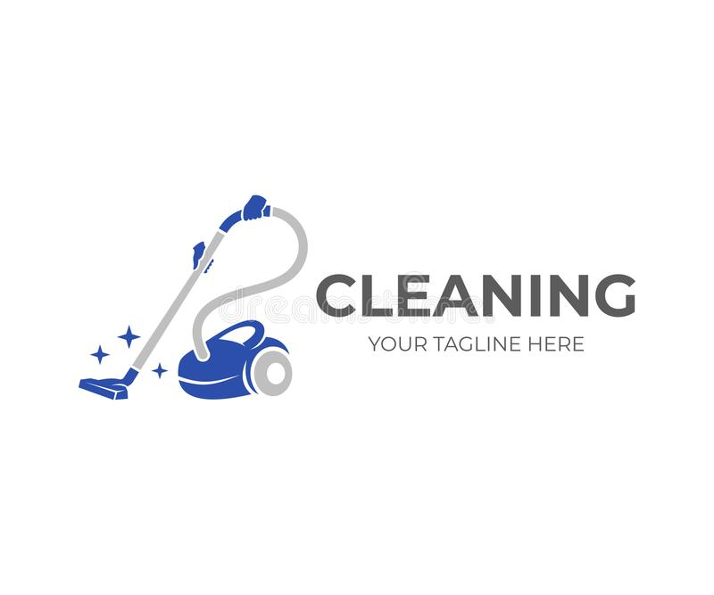 Cleaning, hands holding a vacuum cleaner with brilliance of purity, logo design. Steam mop and cleaning service, vector design vector illustration