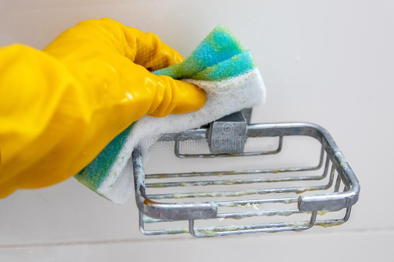 Cleaning. holder for soap to scrub sponge.. stock photos