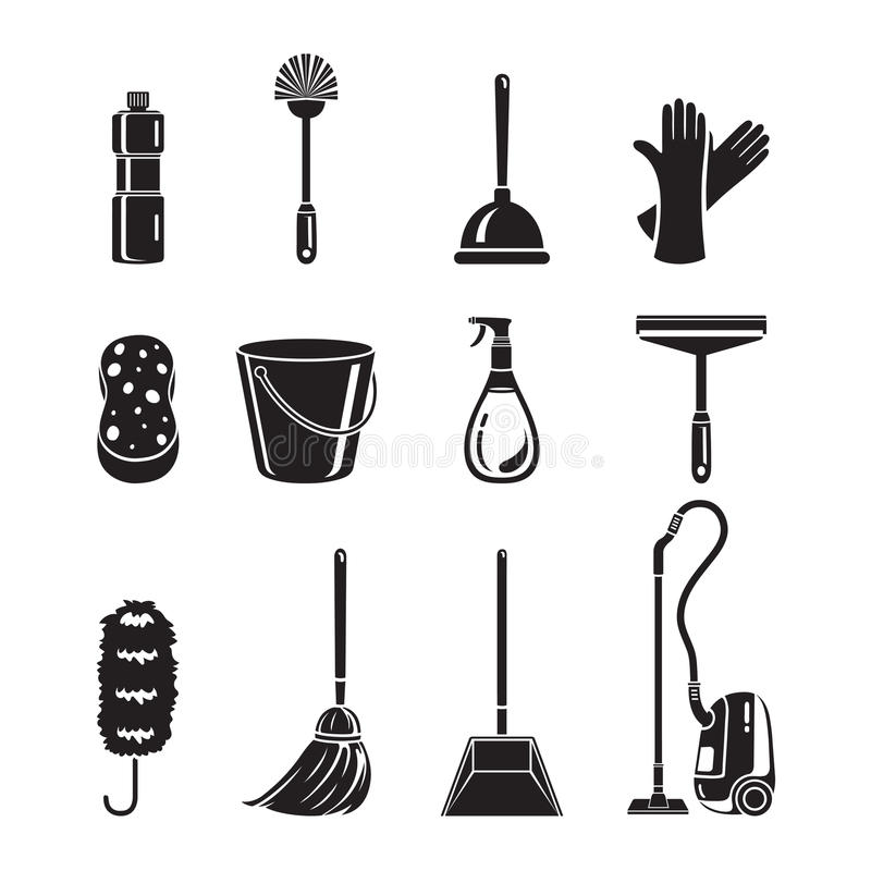 Cleaning, Home Appliances Icons Set, Monochrome stock illustration