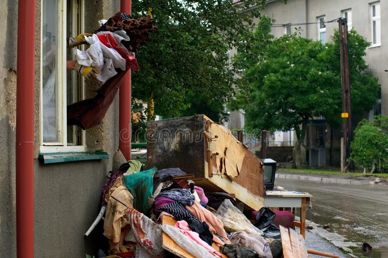 Cleaning house. After a flood in Chastava, Czech Republic (2010 stock photo