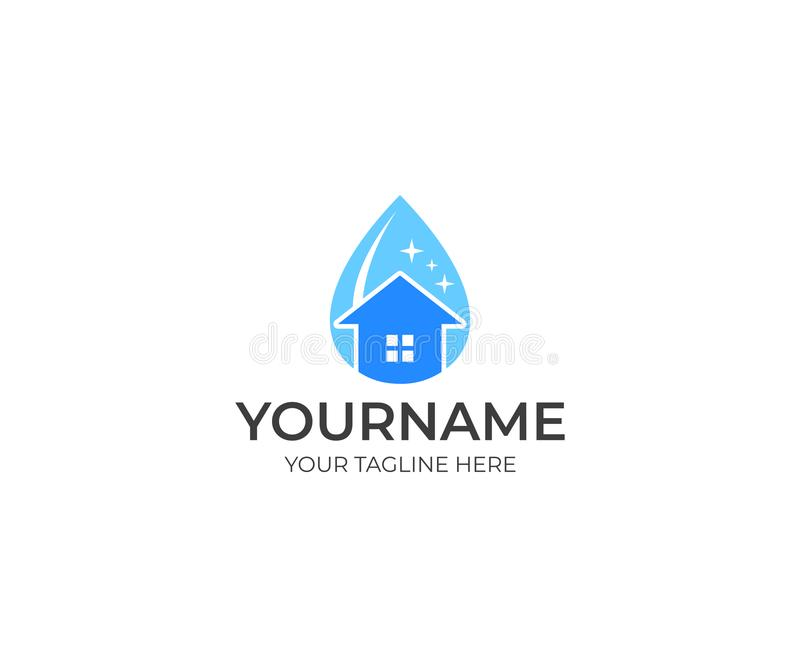 Cleaning and house in a drop of water logo template. Cleaning service concepts vector design stock illustration