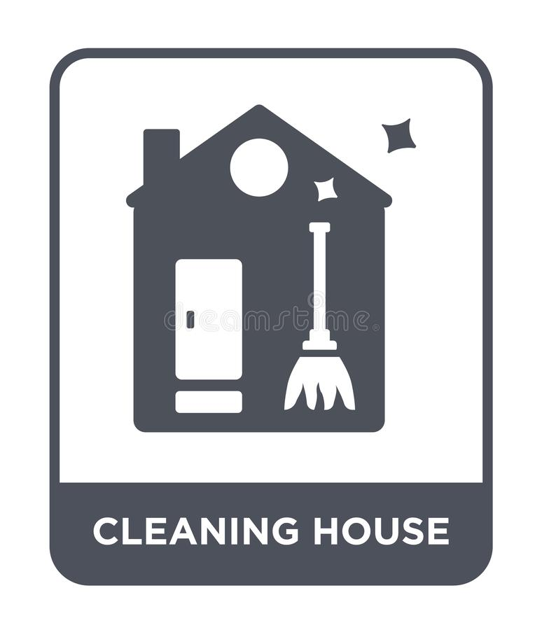 Cleaning house icon in trendy design style. cleaning house icon isolated on white background. cleaning house vector icon simple. And modern flat symbol for web stock illustration